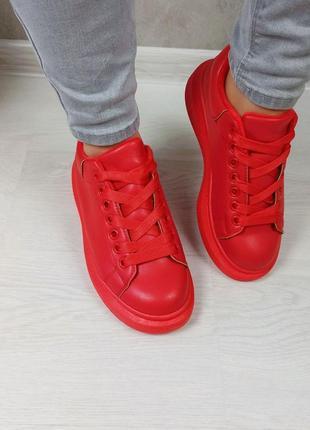 Кросівки кріпери кроссовки кроссы криперы красные утеплённые на меху6 фото