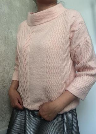 Розовый свитер/джемпер с шерстью