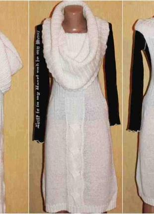 Платье жилетка тёплое с воротом снуд, united colors of benetton, италия оригинал м