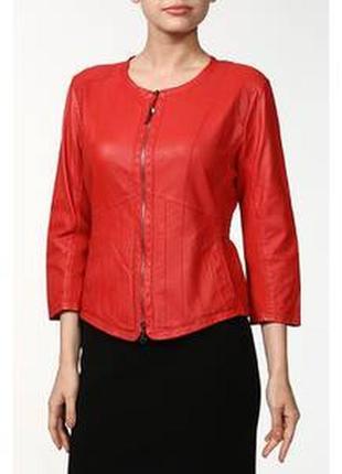 Красная кожаная курточка пиджак, натуральная кожа, приталенная, marc cain