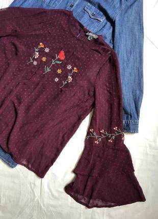 Бордовая прозрачная блуза в горох