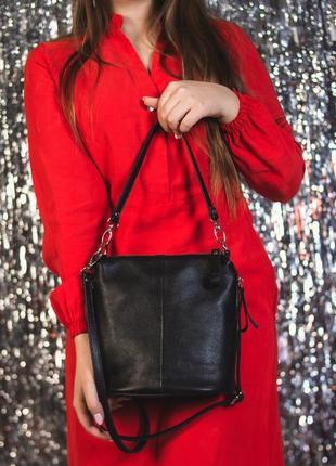 Супер цена -10%% шкіряна сумка через плече, колір чорний