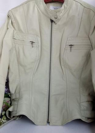 Кожаная светлая курточка, натуральная кожа, next