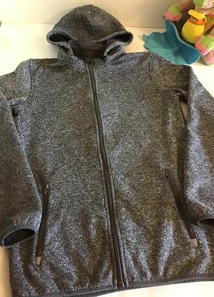 Удлинённая толстовка на молнии, куртка на флисе, y.f.k., рост 168см-176, р.s-m.