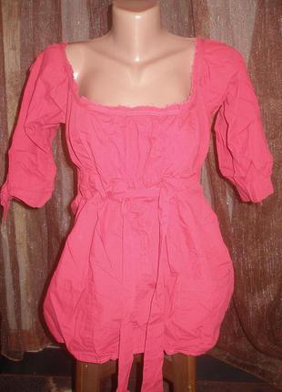 Asos. стильная блуза с поясом. хлопок. анг р 10. цвет бордо