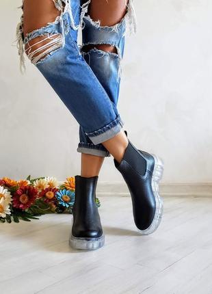 Демисезонные и зимние женские ботинки челси из натуральной кожи