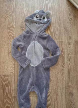 Плюшевый комбинезон ромпер пижама поддева