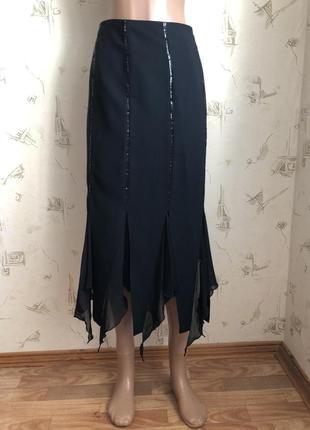 Юбка с пайетками и воланами, юбка черная, юбка силуэтная, юбка футляр миди