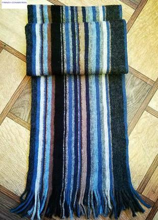 Шерстяной шарф с контрастными полосами  бренда из великобритани french connection.