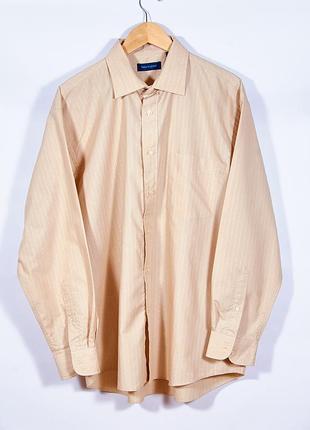 Женская рубашка с длинным рукавом бежевая, классическая рубашка женская, сорочка