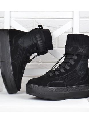 Ботинки женские натуральная замша на платформе fashion черные