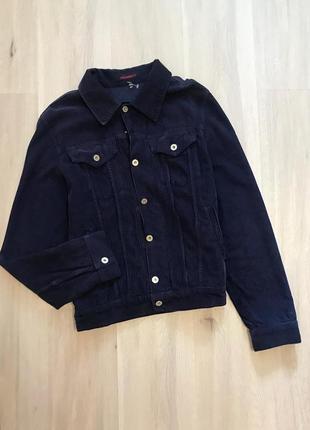 Стильна темно-синя велюрова джинсовка бархатная вельветовая синяя куртка демисезон s/m
