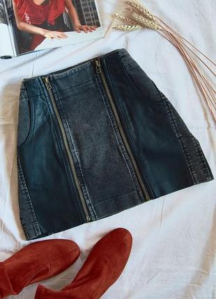 Черная джинсовая юбка,юбка со вставками, джинсова коротка спідниця