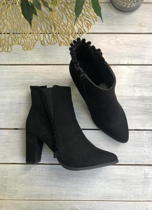 Anna field замшевые ботинки на каблуке ботильоны полусапоги нарядные