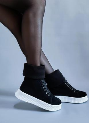 Ботинки натуральная итальянская замша р35-41 сапоги кеды черевики чоботи кеди