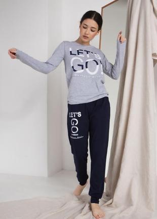 Пижама с надписью комплект для дома и сна кофта и штаны хлопок