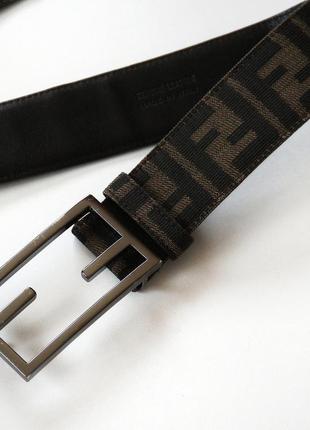 Ремень,пояс fendi brown zucca canvas ff buckle belt