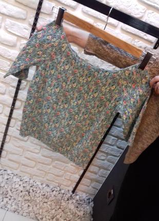 Блуза -топ резинка в цветочек