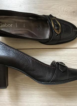 Туфли на устойчивом каблуке натуральная кожа шоколадного цвета размер 40