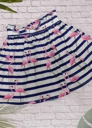 Хлопковая юбка с фламинго на 7-8 лет