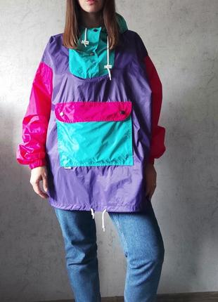 100% винтаж яркий анорак оверсайз дождевик худи плащ куртка курточка