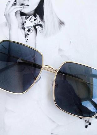 Женские очки большой квадрат чёрный