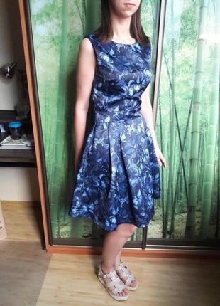 Платье атласное с бабочками oodji