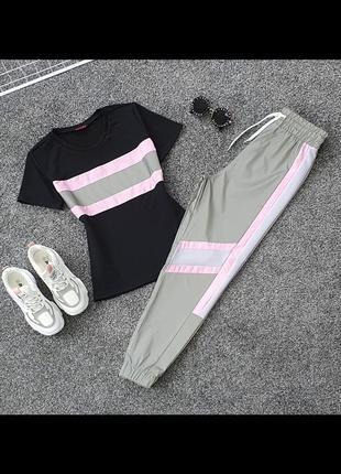 Крутой светоотражающий комплект футболка и брюки. рефлективный комплект