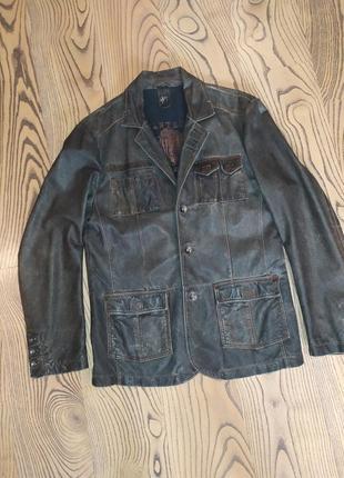 Шикарный кожаный пиджак куртка gipsy xl