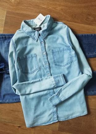 Джинсовая, котоновая, рубашка, сорочка, блузка, оверсайз, бойфренд, с карманами