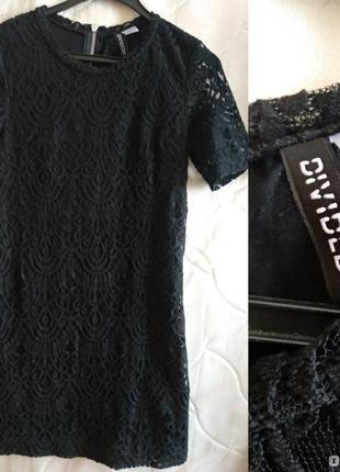 Черное кружевное платье от h&m