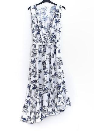 Легкое платье с ассиметричным низом и разрезом сбоку  • р-р 12\40 (l)