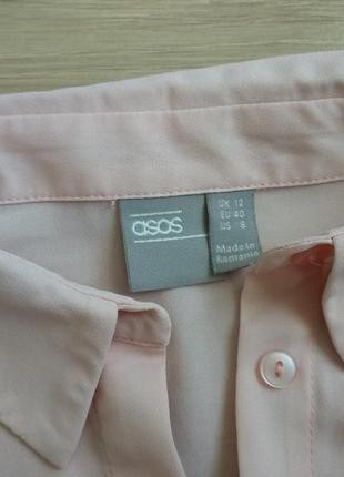 Крутая укороченая рубашка цвета пудры от asos