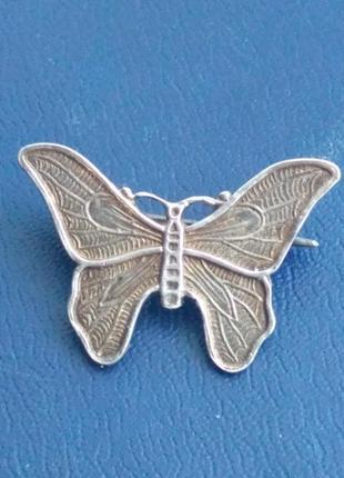Винтажная  серебрянная бабочка