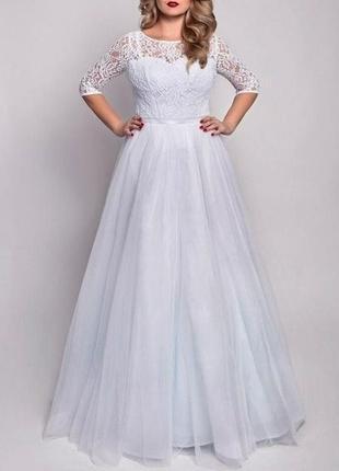 Красивое свадебное платье больших размеров для полных девушек с рукавом кружевом св-7073