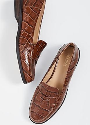 Новые женские кожаные лоферы michael kors,пенни-лоуферы buchanan,лоферы под рептилию