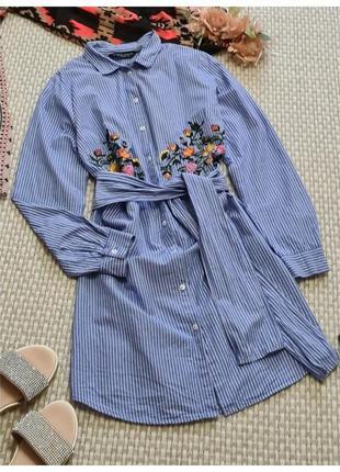 Платье-рубашка в полоску dorothy perkins с вышивкой