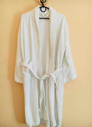 Батал большой размер белый котоновый махровый банный халат халатик