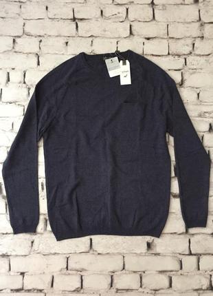 Крутой свитер кашемировый пуловер синий мягкий тонкий s