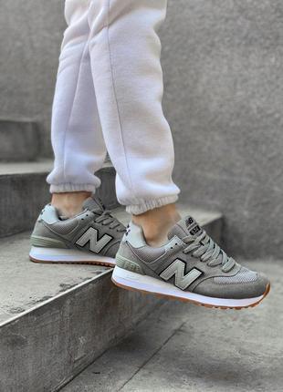 Шикарные кожаные кроссовки new balance 574 кожа
