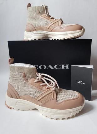 Новые женские кроссовки coach оригинал,люксовые демисезонные кроссовки чулок