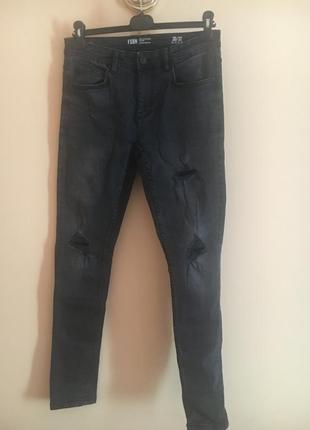 Стильные темные зауженные рванные джинсы джинсики штаны штаники