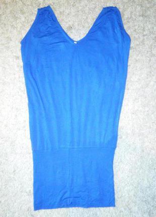 Легкое ярко-синее трикотажное платье oversize, туника, пляж, море