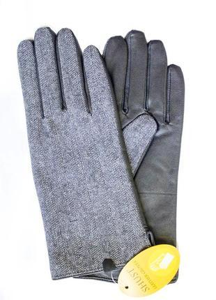 Женские перчатки комбинированные 710 (текстиль+кожа)