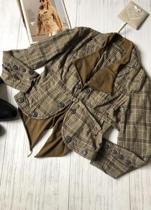 Винтажный пиджак жакет в клетку 100 котон
