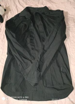Базовая чорного цвета рубашка рубаха - m l xl