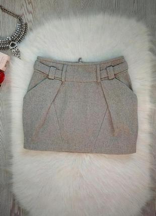 Теплая серая юбка мини с шерстью карманами короткая шерстяная войлок фетр на вид