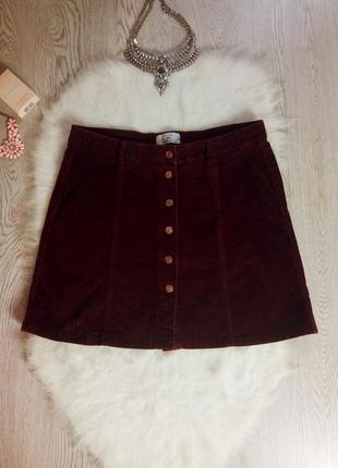 Вельветовая бордовая марсала юбка трапеция с пуговицами кнопками батал большой размер