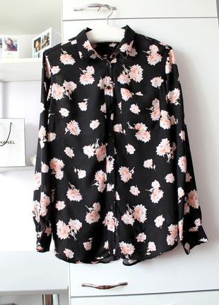 Черная рубашка в цветы от new look