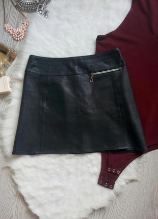 Черная короткая натуральная кожаная юбка мини с молнией серебристой